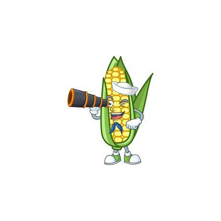 Character sailor holding binocular in the cartoon a corn Ilustração