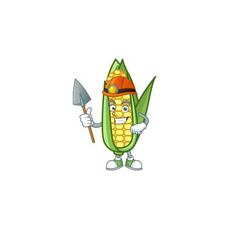 Character miner in the cartoon a corn Ilustração