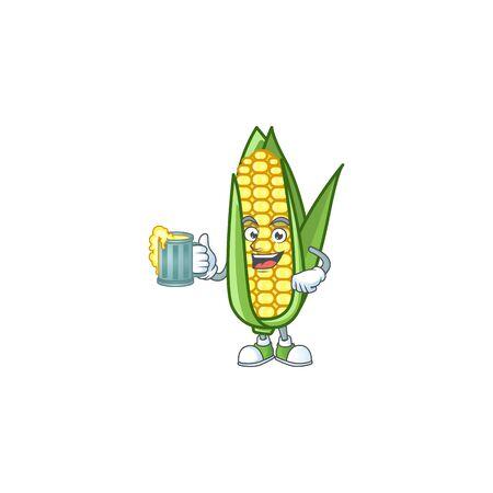 Character holding juice in the cartoon a corn Ilustração