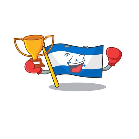 boxing winner cartoon flag honduras in with mascot. Vector illustration
