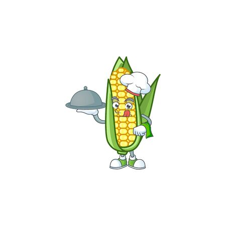 Character chef holding food in the cartoon a corn
