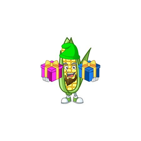Cute corn with the character cartoon bring two gifts Foto de archivo - 133696095