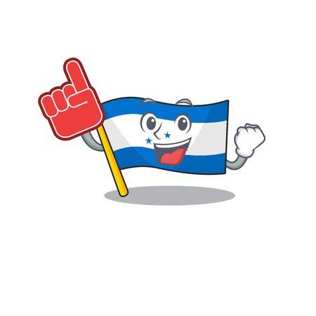 foam finger cartoon flag honduras in with mascot. Vector illustration
