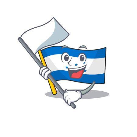 bring flag cartoon flag honduras in with mascot. Vector illustration