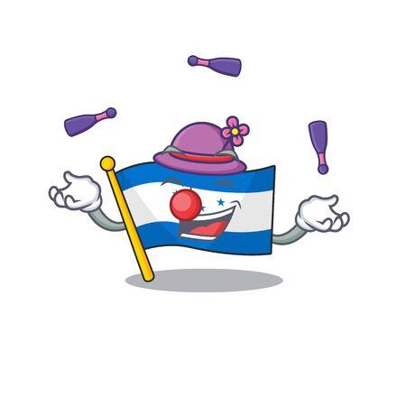juggling cartoon flag honduras in with mascot. Vector illustration