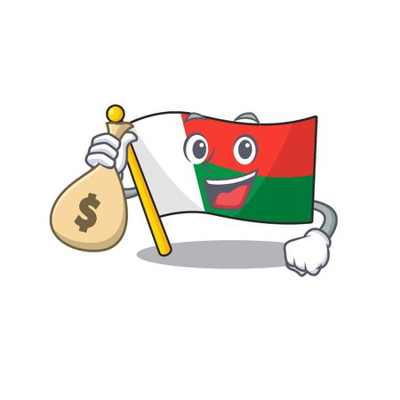 Mascot flag madagascar with in holding money bag haracter. Vector illustration