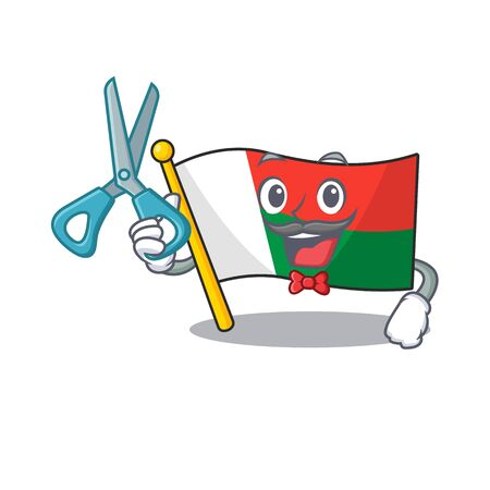 Mascot flag madagascar with in barber character. Vector illustration