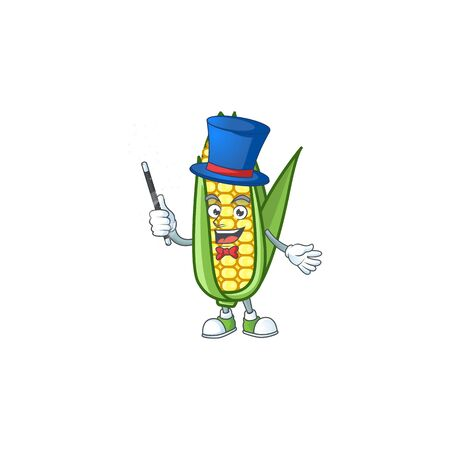 Cute corn with the character cartoon magician