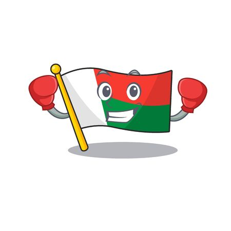 Mascot flag madagascar with in boxing haracter. Vector illustration