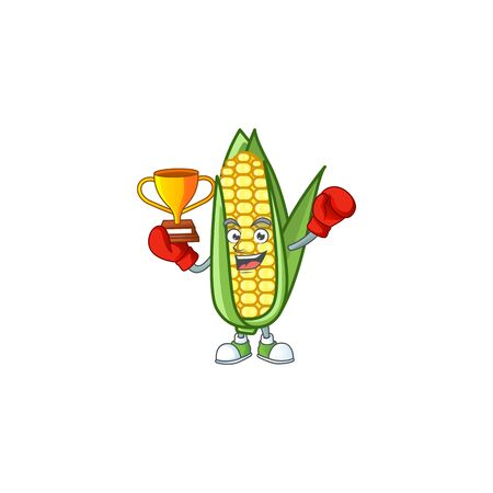 Cute corn with the character cartoon boxing winner vector illustration 向量圖像