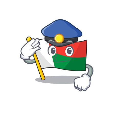 Mascot flag madagascar with in police haracter. Vector illustration