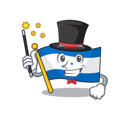 magician cartoon flag honduras in with mascot. Vector illustration Çizim