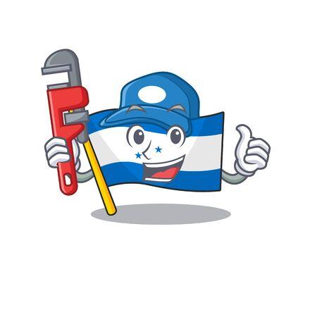 Plumber cartoon flag honduras in with mascot. Vector illustration