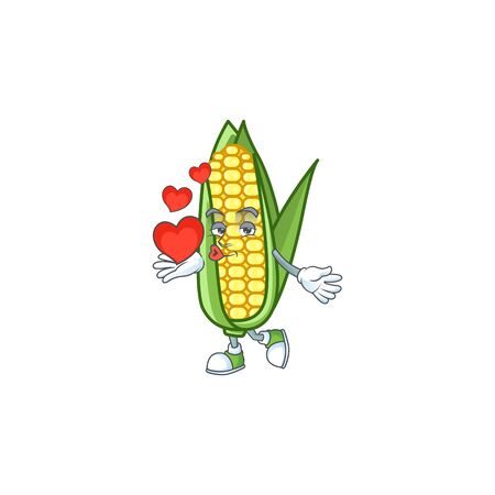 Character holding heart in the cartoon a corn vector illustration