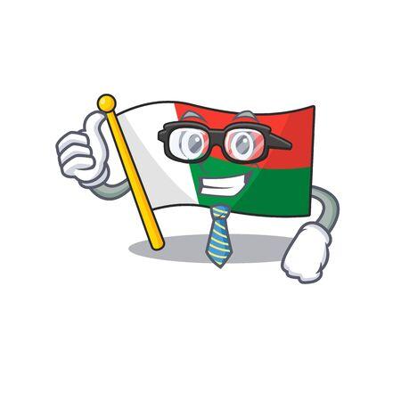 Flag madagascar cartoon with in businessman character. Vector illustration