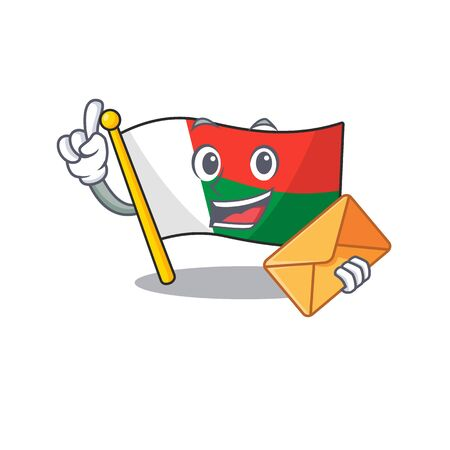 Flag madagascar cartoon with in bring envelope character. Vector illustration