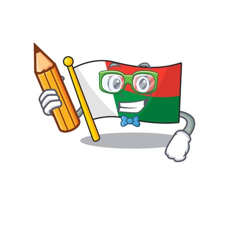 Flag madagascar cartoon with in student holding pencil character. Vector illustration Illusztráció