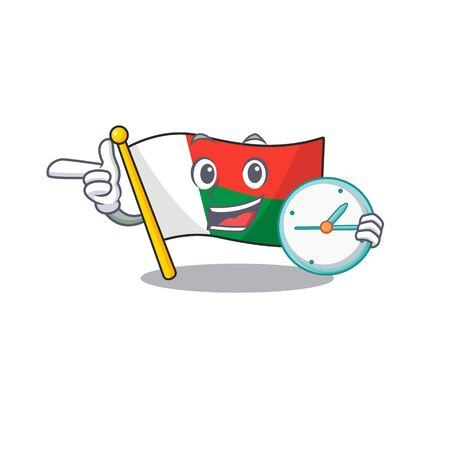 Flag madagascar cartoon with in with bring clock character. Vector illustration