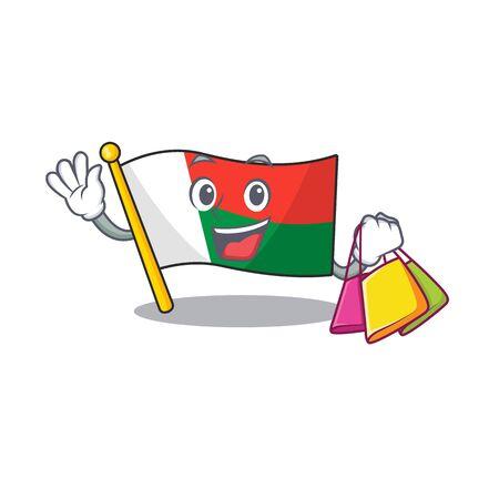 Flag madagascar cartoon with in shopping character. Vector illustration Illusztráció