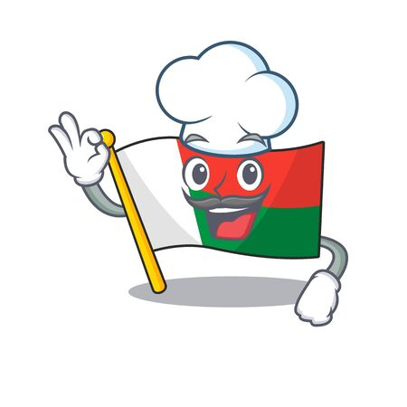 Flag madagascar cartoon with in chef character. Vector illustration