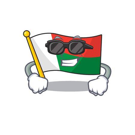 Flag madagascar cartoon with in super cool character. Vector illustration Illusztráció