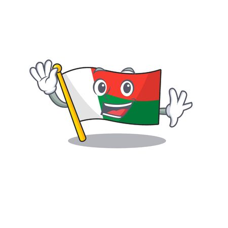 Flag madagascar cartoon with in waving character. Vector illustration  イラスト・ベクター素材