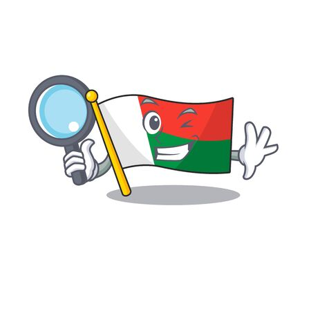 Flag madagascar cartoon with in detective character. Vector illustration Çizim