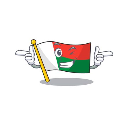 Flag madagascar cartoon with in wink character. Vector illustration