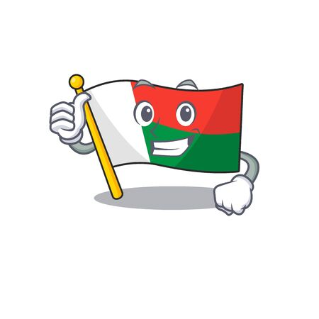 Flag madagascar cartoon with in thumbs up character. Vector illustration Illusztráció