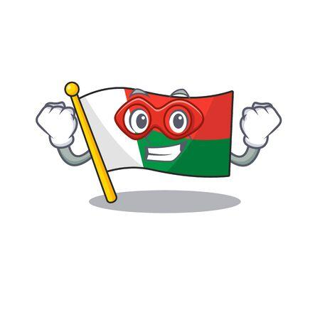 Flag madagascar cartoon with in super hero character. Vector illustration Illusztráció