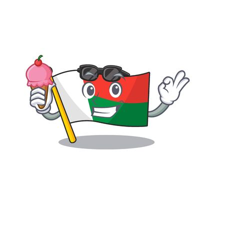 Flag madagascar cartoon in with ice cream character. Vector illustration