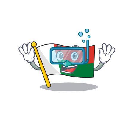 Flag madagascar cartoon with in diving character. Vector illustration Illusztráció