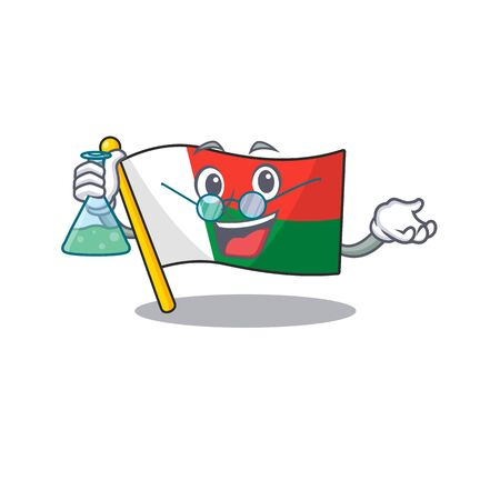 Flag madagascar cartoon with in professor character. Vector illustration Illusztráció