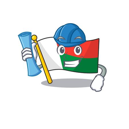 Flag madagascar cartoon with in architect character. Vector illustration