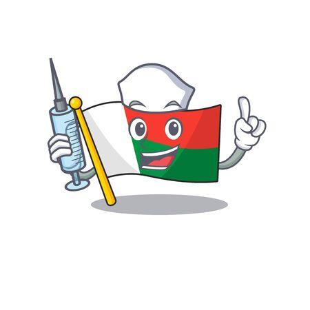 Flag madagascar cartoon with in nurse character. Vector illustration Illusztráció