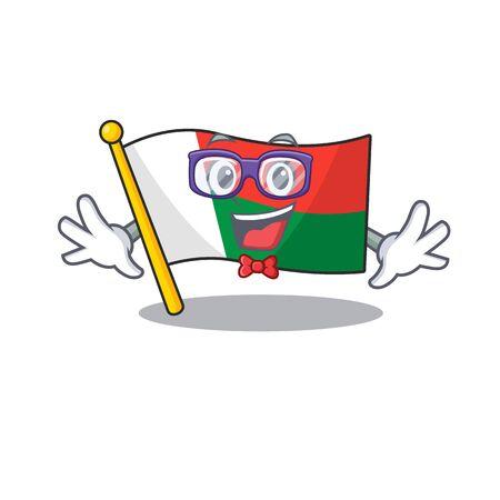 Flag madagascar cartoon with in geek character. Vector illustration