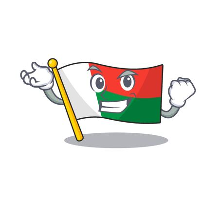 Flag madagascar cartoon with in successful character. Vector illustration