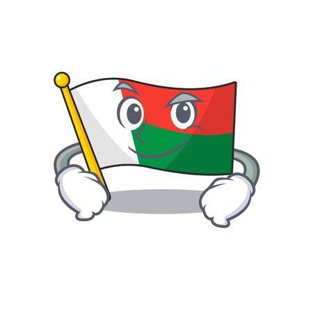 Flag madagascar cartoon with in smirking character. Vector illustration Illusztráció