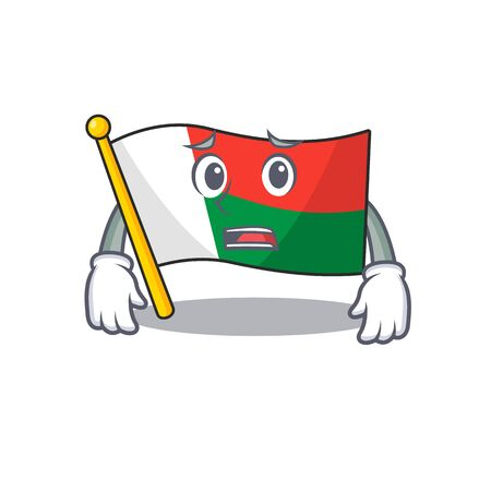 cartoon on the mascot flag madagascar afraid. Vector illustration