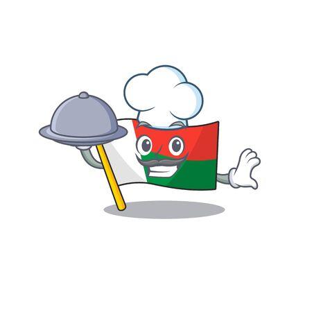 cartoon on the mascot flag madagascar chef holding food. Vector illustration