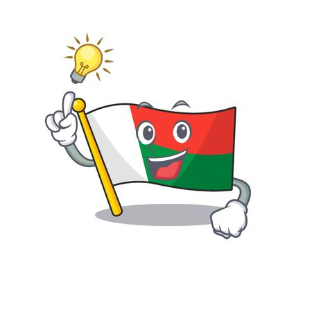 Character flag madelova isolated in cartoon have an idea.Vector illustration Ilustracja