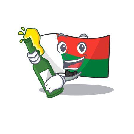 Character flag madelova isolated in cartoon bring beer.Vector illustration