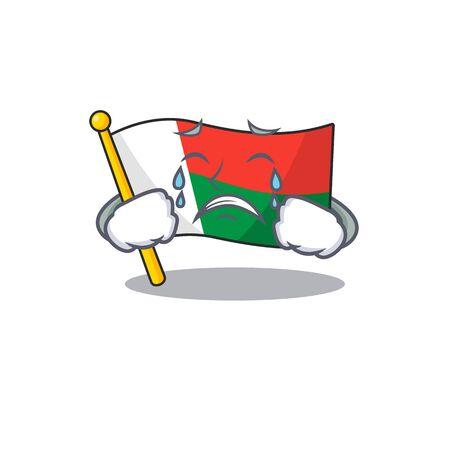 dessin animé sur le drapeau de la mascotte madagascar pleurant. Illustration vectorielle