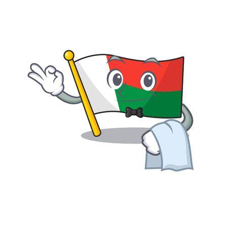 cartoon on the mascot flag madagascar waiter. Vector illustration