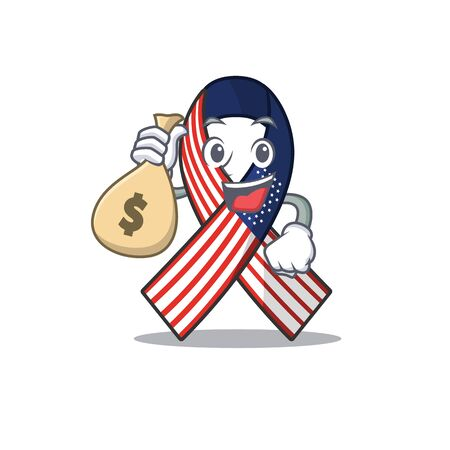 Cartoon usa ribbon with the holding money bag character Archivio Fotografico - 134007940