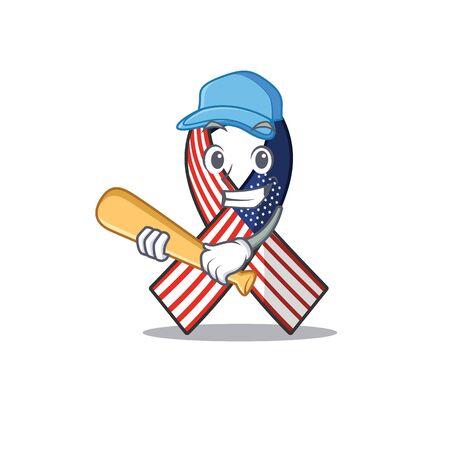 Cartoon usa ribbon with the playing baseball character Archivio Fotografico - 134007943