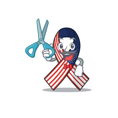 Cartoon usa ribbon with the barber character.