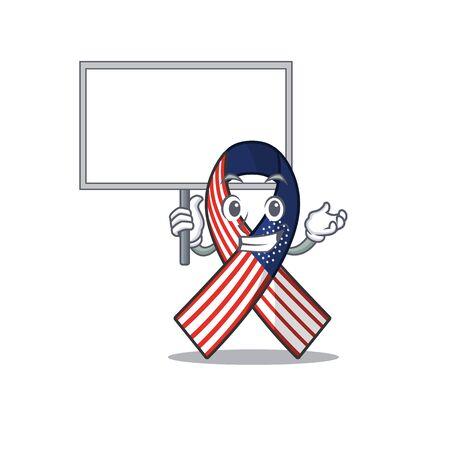 Cartoon usa ribbon with the bring board character Archivio Fotografico - 134007946