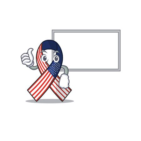 Cartoon usa ribbon with the thumbs up with board character Archivio Fotografico - 134007947