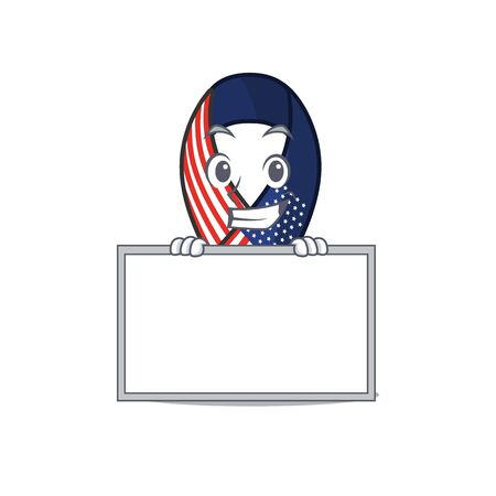 Cartoon usa ribbon with the grinning with board character. Archivio Fotografico - 134007948